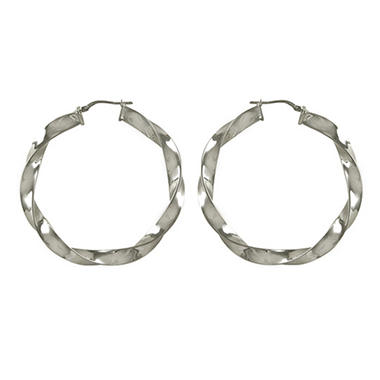Love, Earth 6x50 Twist Tube Hoop Earrings in Sterling Silver