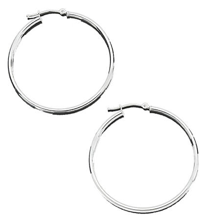 2X42MM POLISHED HOOP 14 KARAT WHITE GOLD