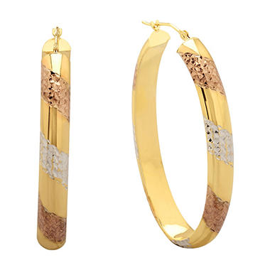 Love, Earth Diamond Cut and Tricolor Oval Hoop Earrings in Sterling Silver and 14K Yellow Gold