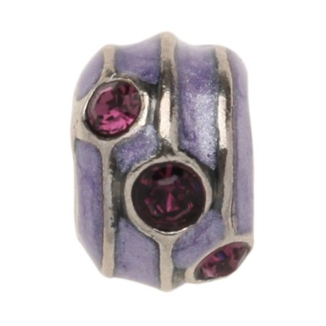 Violet Charm Bead with Purple Crystal Accents in Sterling Silver