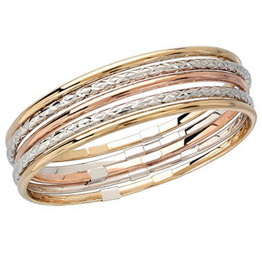 Sterling Silver Bonded With 14K Gold Diamond Cut and Polished Bangle Bracelet Set
