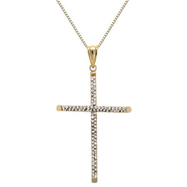 Love, Earth Sterling Silver and 14K Yellow Gold Cross Pendant Necklace With Genuine Swarovski Crystal Accent