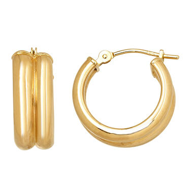 3x15mm Round Double Hoop Earring in 14K Yellow Gold