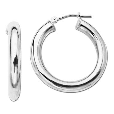 4x27mm Round Hoop Earring in 14K White Gold