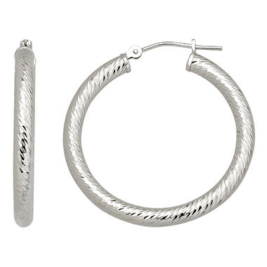 3x30mm Round Diamond Cut Hoop Earring in 14K White Gold