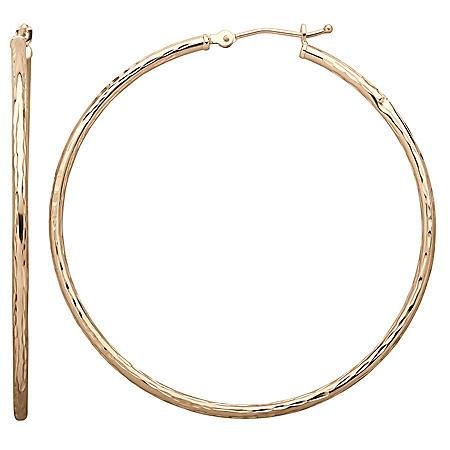 2x50mm Round Hoop Earring in 14K White Gold