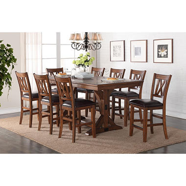 Member's Mark Harshaw Counter-Height Dining Table and Chairs, 9-Piece Set