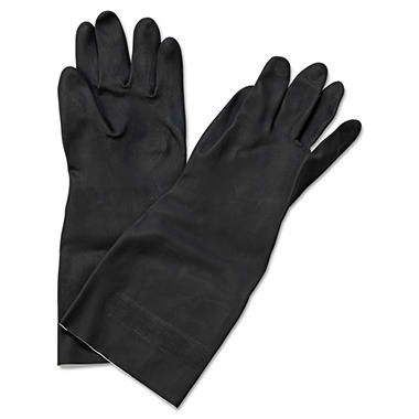 Boardwalk Neoprene Large Long-Sleeved Flock-Lined Gloves, Black (Pack of 12)