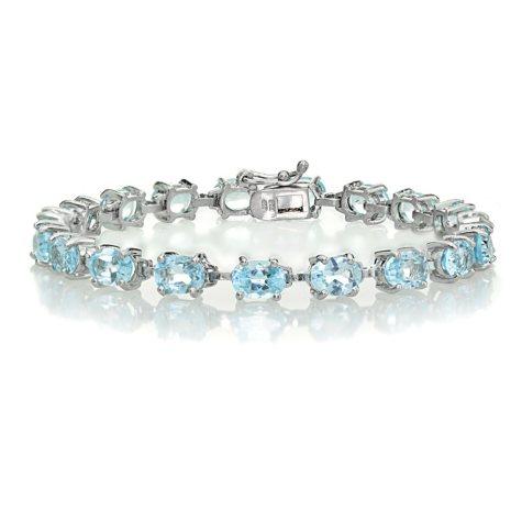 Blue Topaz, Amethyst, or Multi-Stone Tennis Bracelet in Sterling Silver