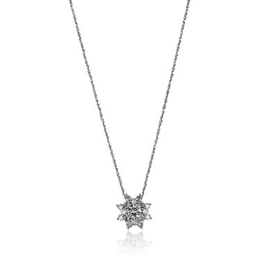 1.0 ct. t.w. Sunflower Diamond Pendant in 14K White Gold (I, I1)