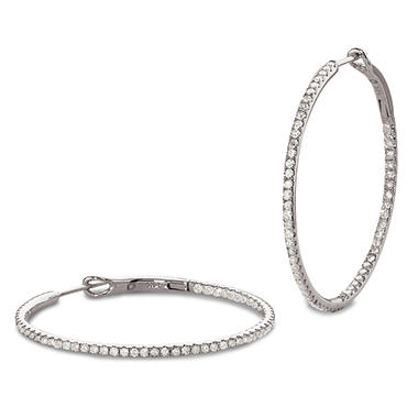 1.00 CT.T.W. Inside-Out Diamond Hoop Earrings in 14K White Gold (I, I1)