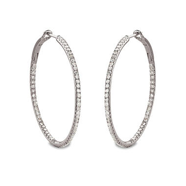 0.50 CT. T.W. Diamond Hoop Earrings in Sterling Silver (H-I, I1)