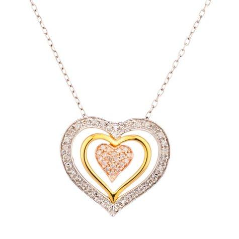 0.25 CT. T.W. Diamond Sterling Silver Tri Color Heart Pendant