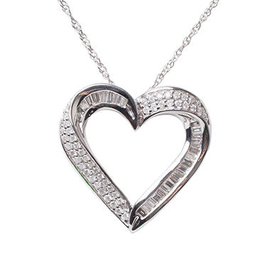 0.49 CTTW Baguette and Round Diamond Heart Pendant in 14K White Gold (H-I, I1)