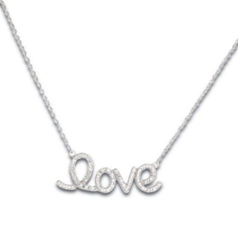 0.25 CT. T.W. Diamond Love Pendant in 14K White Gold (H-I, I1)