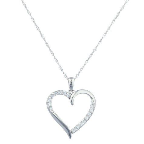 0.22 CT. T.W. Diamond Heart Ribbon Pendant in 14k White Gold (H-I, I1)