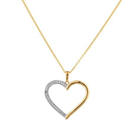 0.15 CT. T.W. Diamond Heart Pendant in 14K Yellow Gold (H-I, I1)