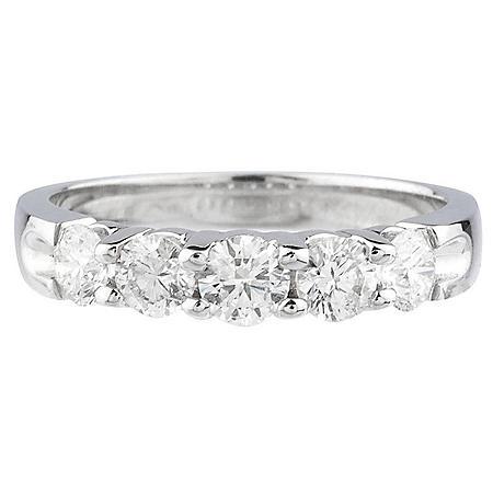0.99 CT. T.W. 5-Stone Diamond Ring Band in 14K Gold (H-I, I1)