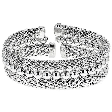 3 Piece Set of Textured Cuff Bracelets in Sterling Silver