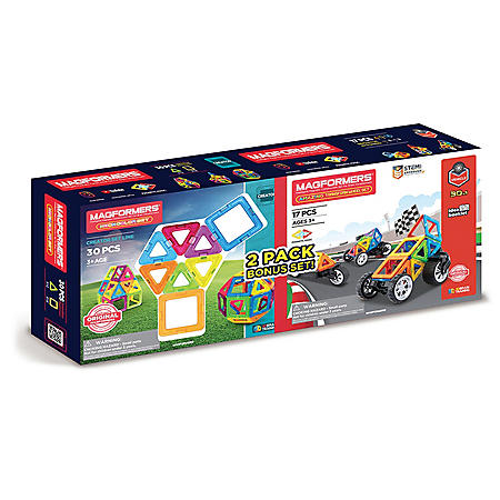 Magformers Neon 30Pc and Transform 17Pc Wheel Set Sams Club Exclusive 2 Toy Bundle Pack