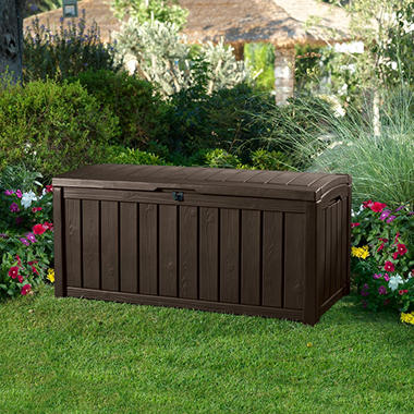 Keter Glenwood Outdoor Plastic Deck Storage Container Box 101 Gal Brown