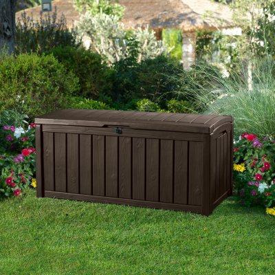 Keter Glenwood Outdoor Plastic Deck Storage Container Box 101 Gal Brown & Sheds u0026 Outdoor Storage - Samu0027s Club