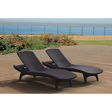 Keter 2-Pack Adjustable Chaise Lounge All-weather Outdoor Furniture, Grey
