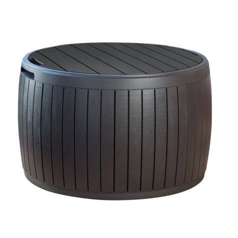 Keter Circa 37-Gallon Natural Wood Outdoor Storage Table Deck Box