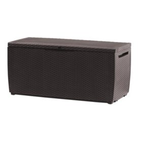Keter Capri 80-Gallon Rattan Outdoor Storage Deck Box, Espresso Brown