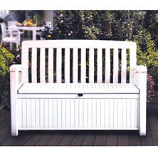 Keter 60 Gallon All Weather Outdoor Patio Storage Bench, White