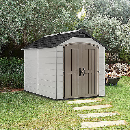 Keter Montfort 7.5' x 11' Resin Outdoor Storage Shed, Gray