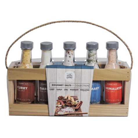 Modern Gourmet Salt Collection, Variety Pack in Wood Crate (30 oz.)