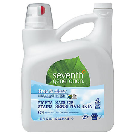 Seventh Generation Natural 2X Concentrate Liquid Laundry Detergent, Free & Clear (99 loads, 150 oz.)
