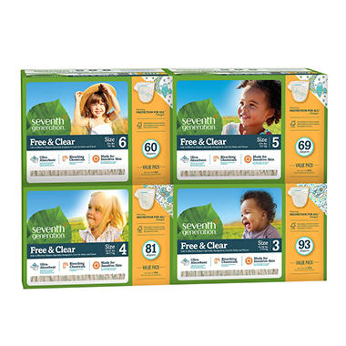 Seventh Generation Free & Clear Baby Diapers (Choose your Size)