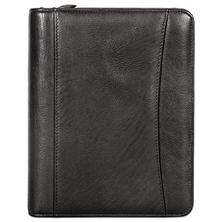 Franklin Covey Nappa Leather Ring Bound Organizer with Zipper, 8 x 10, Black, Undated