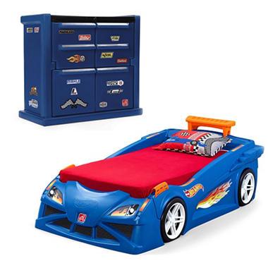 Hotwheels Race Car Toddler Bed Dresser Bundle Sam S Club