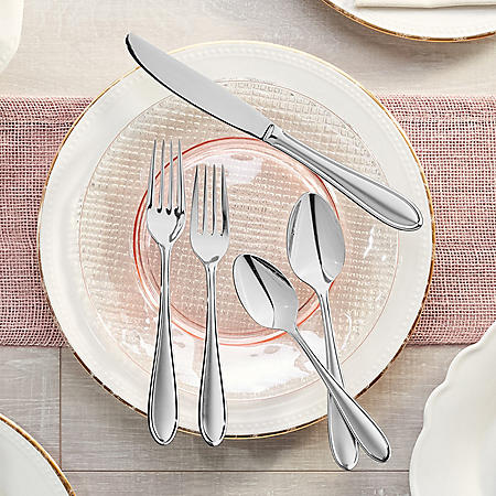 Hampton Signature 50-Piece Flatware Set, Nobility Frosted (Service for 8 with 2-Piece Serving Set)