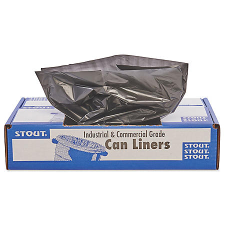 Stout - 100% Recycled Plastic Trash Bags, 56gal, 1.5mil, 43 x 49, Brown -  100/Carton