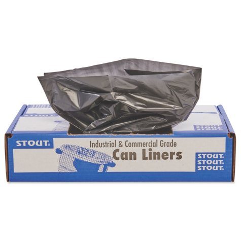Stout - 100% Recycled Plastic Garbage Bags, 56gal, 1.5mil, 43 x 49, Brown -  100/Carton