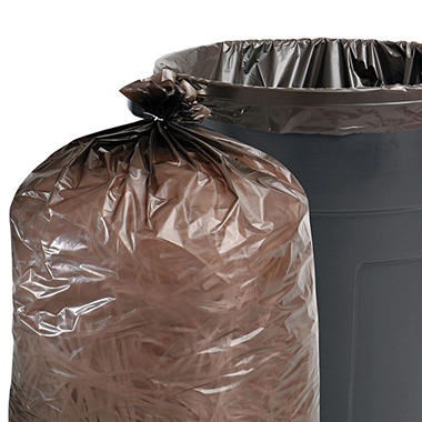 Stout - 100% Recycled Plastic Garbage Bags, 60gal, 1.5mil, 36 x 58, Brown -  100/Carton