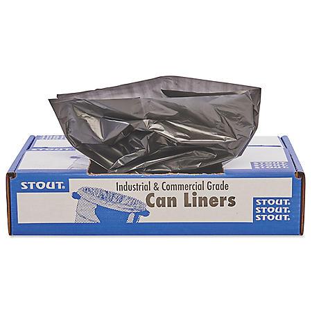 Stout - 100% Recycled Plastic Trash Bags, 65gal, 1.5mil, 50x51, BN -  100/Carton
