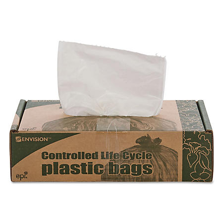 Stout - Eco-Degradable Plastic Trash Garbage Bag, 13gal, .7mil, 2x30, White -  120/Box