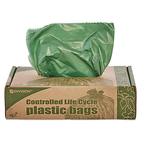 Stout - Eco-Degradable Plastic Trash Garbage Bag, 33gal, 1.1mil, 33 x 40, Green -  40/Box