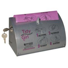 Stout Tidy Girl Plastic Feminine Hygiene Disposal Bag Dispenser, Gray