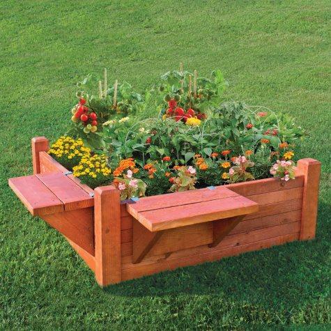 4' x 4'  Garden Bed with Seat/Shelf
