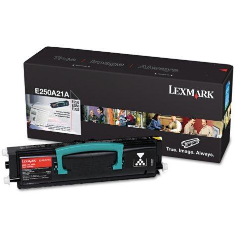 Lexmark E250A21A Toner, 3500 Page-Yield -  Black