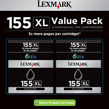 Lexmark 155XL Black Ink Cartrige - Twin Pack