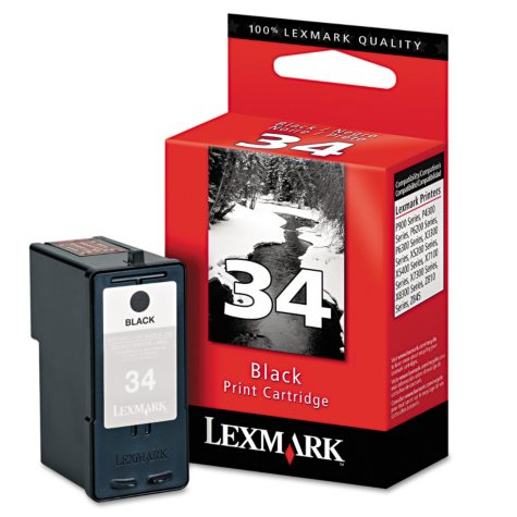 Lexmark 34 High-Yield Ink, Black (18C0034, 475 Page-Yield)