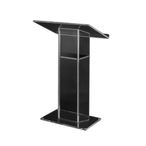 Amplivox Large Acrylic Lectern with Shelf, Clear