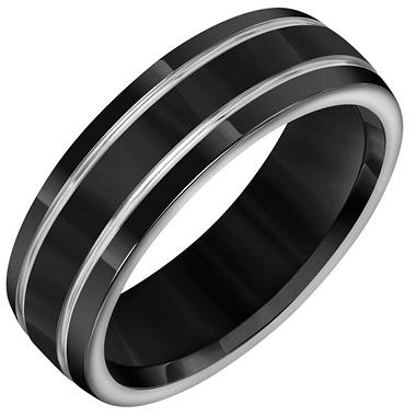 Black & Grey Titanium Comfort-Fit Band - 7mm